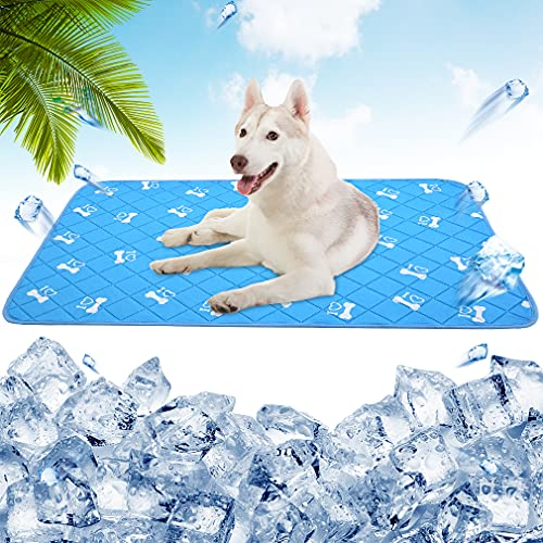 PUPTECK Anti-Slip Dog Self Cooling Mat - Ice Silk Large Cooling Pad for Dogs in Summer, Super Absorbent Washable Dog Pee Pad, Blue, Bottom Waterproof Protection Floor