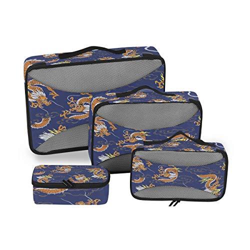 CPYang - Juego de 4 Cubos de Embalaje con diseño de dragón Chino, organizadores de Viaje, Bolsa de Almacenamiento de Malla para Maleta