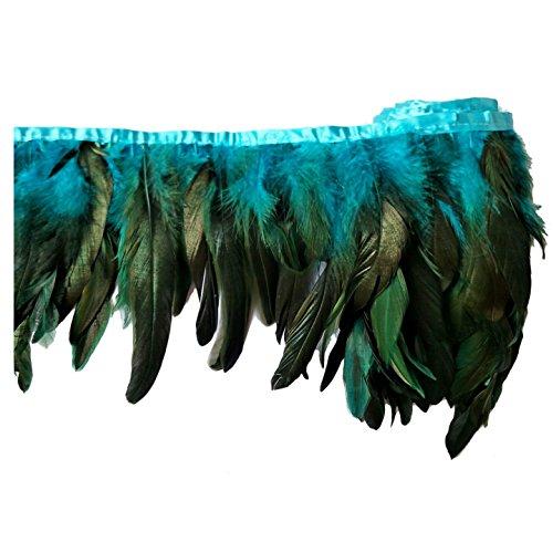 keland 2 yardas de pluma de gallo recortar flecos 5-8'en ancho DIY falda de mantón del cabo decoración de vestido de Halloween (Azul)