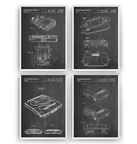 Gaming Patent Poster - Set Of 4 Prints - Jahrgang Bild Drucke Kunst Geschenke Zum Männer Frau Entwurf Dekor Vintage Art Blueprint Decor - Rahmen Nicht Enthalten