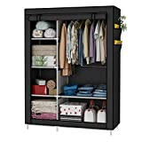 UDEAR Closet Organizer Wardrobe Clothes Storage Shelves, Non-Woven Fabric Cover with Side Pockets,41.3 x 17.7 x 66.9 inches,Black