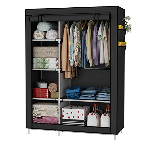 UDEAR Closet Organizer Wardrobe Clothes Storage Shelves Non-Woven Fabric Cover with Side Pockets413 x 177 x 669 inchesBlack