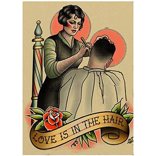 Popular peinado tatuaje Shabby chic Vintage Wall peluquería decoración del hogar -60x80cmx1 sin marco