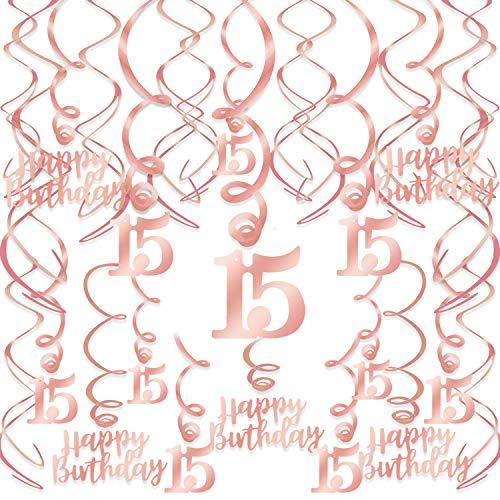 HOWAF Rose Gold 15. Geburtstag deko für Mädchen, 15. Geburtstag Hängedeko Roségold Wirbel Deckenhänger Spiral Girlanden für 15 Geburtstag Dekoration Mädchen