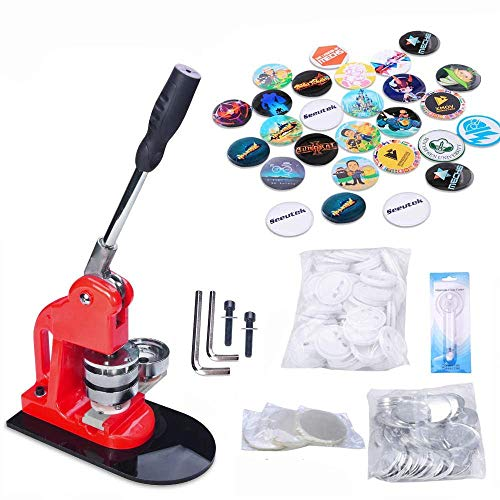 Seeutek Button Maker Machine Button Badge Maker 2-1/4 inch 58mm with 500 Pcs Button Parts and 2-1/4 inch 58mm Circle Cutter