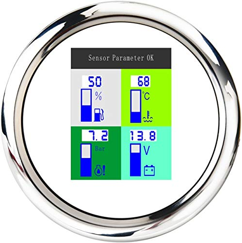 No-branded Odometer Spur 4 in 1 Auto Marine-Multifunktionsmessgeräte Voltmeter 9~32V Kraftstoffstand Wassertemperatur Öldruck 10 Bar ZHQHYQHHX (Color : WS, Size : Kostenlos)