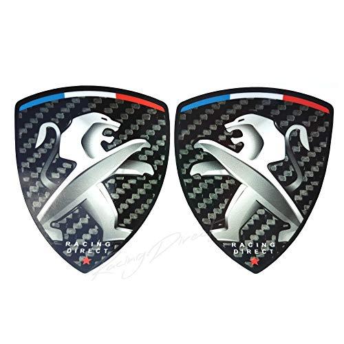 Racing Dirett - Set di 2 adesivi per Peugeot Sport, effetto carbonio, accessorio decorativo per auto per 206 207 208 307 308 107 5008