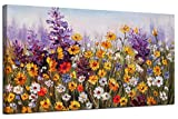 Ardemy Canvas Wall Art Daisy Colorful Bloosom Flowers Artwork Painting Prints Modern Landscape, Purple Floral Picture Framed for Living Room Bedroom Kitchen Dinning Room Office Home Decor- 40'x20'