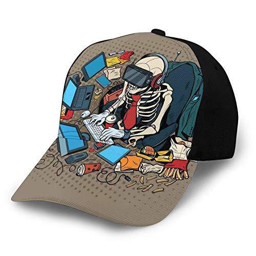 FULIYA Gorra de béisbol lisa, lavada, programador de esqueleto y pirata informático en realidad virtual, para comer comida rápida, ilustración retro ajustable, sombrero de papá para hombres y mujeres