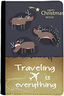 Christmas Reindeer Moose Pattern Traveling quato Passport Holder Travel Wallet Cover Case Card Purse