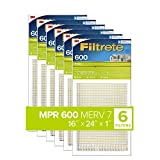 Filtrete 16x24x1, AC Furnace Air Filter, MPR 600, Clean Living Dust Reduction, 6-Pack , White, 16 x 24 x 1 (exact dimensions 15.81 x 23.81 x 0.81)