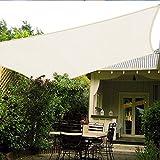 Patio Shack Toldo Vela Rectangular 3x4 m, Vela de Sombra 4x3 m HDPE, Transpirable, Resistente, Protección Rayos UV para Exterior, Jardín, Terrazas (Crema)