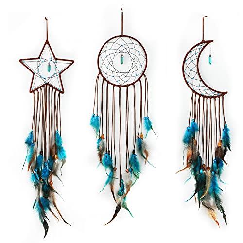 Jetec 3 Piezas Atrapasueños con Diseño de Luna Sol Estrella Tradicional Hecho a Mano para Colgar en Pared Decoración de...