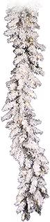 Vickerman Pre-Lit Flocked Alaskan Pine Garland with 50 Clear Dura-Lit Lights, 9-Feet, Flocked White on Green