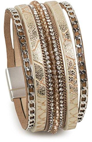 styleBREAKER weiches Armband mit Strasssteinen, Vintage Print und Kette, Magnetverschluss, Damen 05040020, Farbe:Antik-Beige