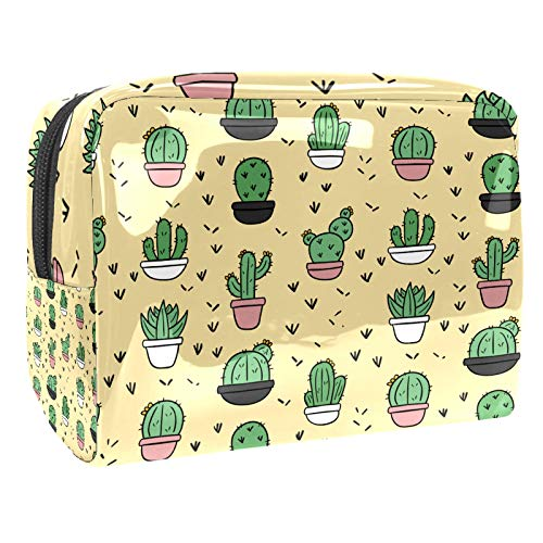 Luggage Cosmetic Cases Cartoon Cactus Cute Portable Travel Makeup Cosmetic Bags Organizer Multifunction Case Toiletry Bags for Women 7.3x3x5.1in