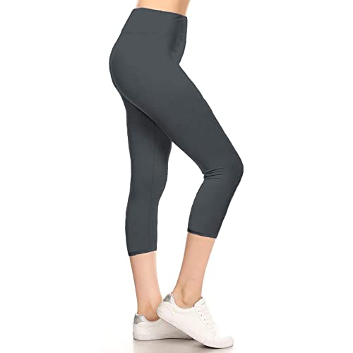 bc5b28621391c Leggings Depot High Waisted Yoga Capri Print Leggings -Soft & Slim (Yoga  Capri Charcoal