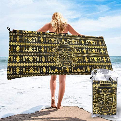 N/A Gold Azteken-Handtuch, Inka Maya, Maske, Strand, schnelltrocknend, Mikrofaser, Yoga, Fitness, saugfähig, Outdoor, Klettern, schnelltrocknend