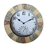 Fanuse Reloj de Pared de 10 Pulgadas de Piedra Arenisca de ImitacióN de Exterior una Interior y Reloj de Pared con NúMero de JardíN Impermeable de Resina y TermóMetro