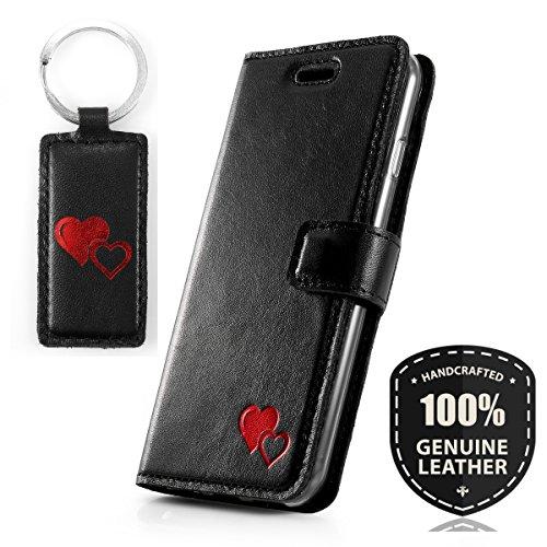 SURAZO Rot Herz - Premium Vintage Ledertasche Schutzhülle Wallet Case aus Echtesleder Costa Farbe Schwarz für Apple iPhone 5 / 5s / SE