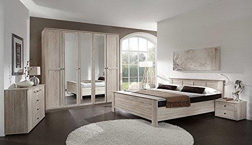lifestyle4living 4-TLG. Komfortschlafzimmer in Eiche sägerau-Nachbildung, Kleiderschrank B: 225 cm, Kompaktbett Liegefläche 180 x 200 cm, Nachtschränke B: 104 cm