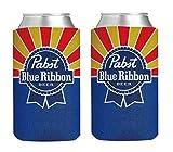 PBR Pabst Blue Ribbon 16oz Beer Can Cooler Holder Kaddy Coolie Huggie Set of 2