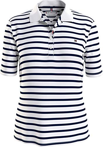 Tommy Hilfiger Damen WW0WW28243 Polohemd, Classic Breton STP/White/Black, X-Large