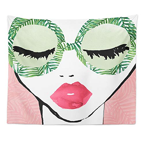 "The Oliver Gal Artist Co. Fashion and Glam Decorative Tapestry Wall Art 'Plant Lady Glasses' Home Décor, 80"" x 68"", Green, Pink"