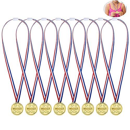 Febbya Medaglie per Bambini,24 Pezzi Winner Medagliette di Plastica Piccolo Mini Medaglia Olimpiadi con Cordino per Bambini Sport Giorno Festa Partito Giocattoli Premi 4CM