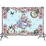 Fondo de fotografía para fotos de Alicia con diseño de niña en el país de las maravillas para decoración de fotos de 1,5 x 2,1 m