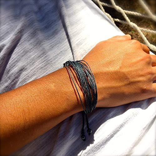 RUMI SUMAQ Navy String Friendship Surfer Bracelet Adjustable Nautical Sailor Beach Rope Jewelry for Men and Women