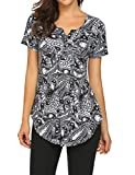Tunic Blouses Women for Office,V-Neck Buttons Ruched Short Sleeve Swing Shirt Top Multi Black,L