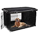 HONEST OUTFITTERS Dog Crate Cover 36 Inch Dog Kennel Cover for Medium Dog, Heavy Duty Oxford Fabric,with Double Door, Pockets and Mesh Window (36L x 24W x 25H,Black)