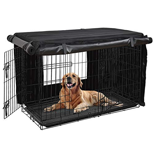 HONEST OUTFITTERS Dog Crate Cover 36 Inch Dog Kennel Cover for Medium Dog, Heavy Duty Oxford Fabric,with Double Door, Pockets and Mesh Window (37L x 24W x 25H,Black)