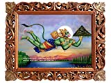Handicraftstore Lord Anjaneya Wall Hanging Poster Painting/Panchmukhi Hanuman Home Decorative Photo Picture with Wood Carved Frame/Hindu Deity Monkey God Portrait-Religious Art Gift