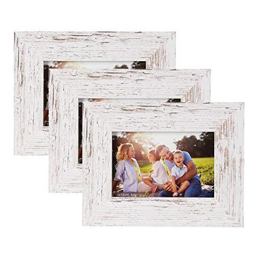 SasaAccueil - Marco de fotos de madera, estilo rústico, con cristal de alta definición, para montaje en pared, soporte de mesa, 3 unidades, color blanco antiguo, 10 x 15 cm