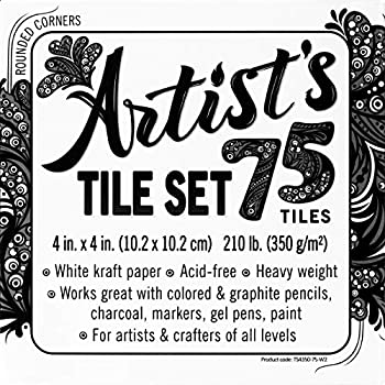 Artist s tile set  White thick 210 lb paper 17pt 4x4 inches Pack of 75 square sheets Heavyweight paper for tangles patterns mandalas and miniature drawings Blank index flash note cards
