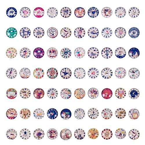 70 Uds, Cabujones de cristal de cúpula redonda, cabujones con parte trasera plana de mosaico Vintage, adornos para manualidades DIY, suministros para hacer joyas, estilo 2