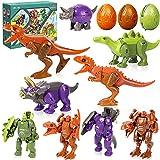 8 PCS Dinosaurios Robot Juguetes Deformación Dinosaurio figuras Juguetes Dinosaurio Huevo Dinosaurios Juego Creativo Dinosaurio Juguete Niños Cumpleaños Regalo(4 Dinosaurio Huevo + 4 Dinosaurios )