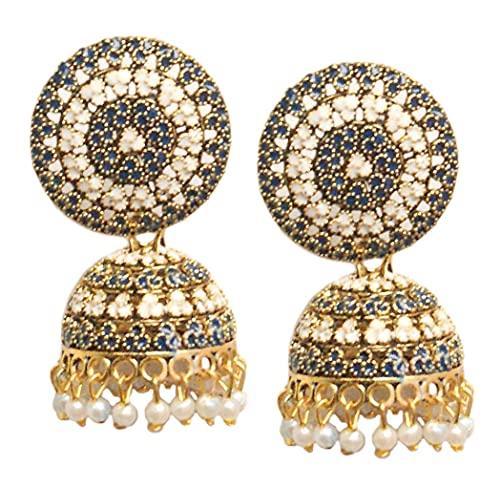 Pahal tradicional Jaipur azul marino y blanco Meenakari oxidados oro grande Jhumka pendientes indio Bollywood blanco perla joyería nupcial para mujeres