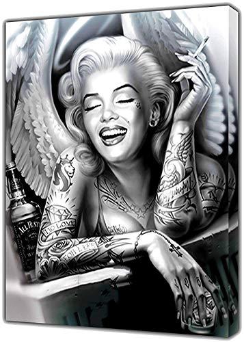 Schwarz Weiß Marilyn Monroe Engel Portrait Leinwand Malerei Wand-Kunst-Tattoo Rauchen Frauen Poster Und Drucke Wohnkultur Bilder Für Schlafzimmer, Wohnzimmer, Frameless,60×80cm