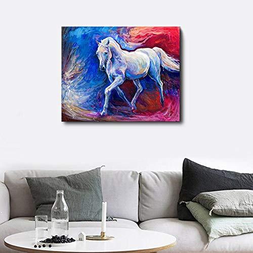 LPaWD Aquarel Animal Print Canvas Schilderij Paard Posters En Prints Wall Art Foto Voor Woonkamer Schilderij Poster En Plant Illustratie A3 60x90cm