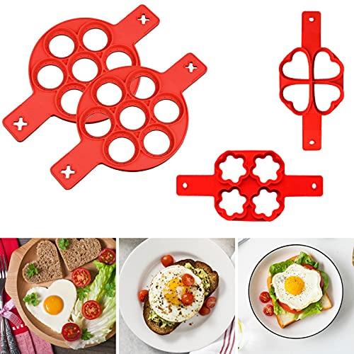RANJIMA Silikon Pfannkuchenformen,Pfannkuchen Form mit 7 Löchern,Nonstick Silikon Ei Ring Pfannkuchen Form,Wiederverwendbare Backformen,Leicht zu Reinigen Omelettwerkzeug für Omelett Pfannkuchen(4pcs)