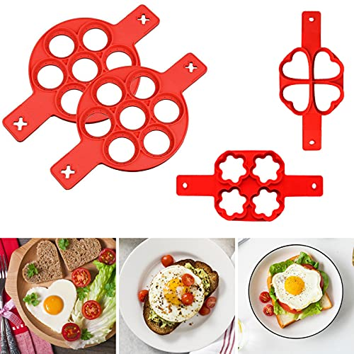 RANJIMA Molde Tortitas Silicona, 4 Piezas Antiadherente Moldes de Silicona Pancake, Molde de Huevo Reutilizable para Tortitas Y Gofres