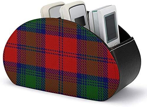 Soporte para control remoto todo en uno Cuero de PU Scottish Clan Lindsay Lindsey Tartan Organización y almacenamiento con 5 compartimentos espaciosos para controles remotos de TV / controladores de