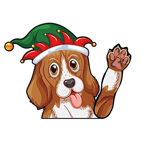 Hete-supply auto achter ruitenwisser sticker, kerst schattige hond Waving Waving Arm Wiper Decals auto Sticker Styling Decor, ruitenwisser sticker Tags Finnish Lap