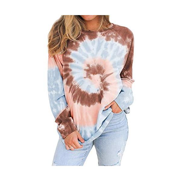 Auriviz Women's Tie Dye Shirt Crewneck Long Sleeve Loose Pullover Casual Color Block Sweatshirt Tops