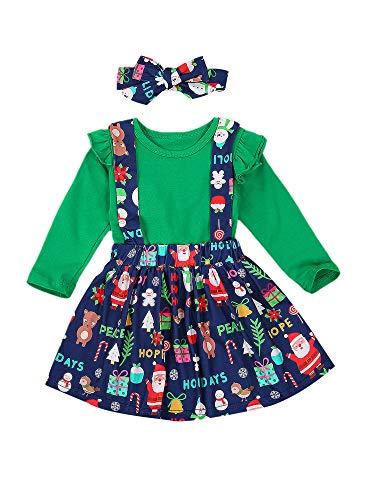 Carolilly 3 Pz Vestito Natalizio da Bambina Neonata 6 Mesi-4 Anni Set con Volant Tinta Unita per Autunno e Inverno Natale Gonna con Stampa di Elemento Natalizio (Verde, 18-24 Mesi)