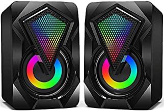 Computer Speakers,Wired 2.0 USB Powered PC Speakers Stereo Mini Multimedia Volume Control,Gaming RGB Lights 3.5mm Jack Speakers for PC Desktop Laptop Monitor
