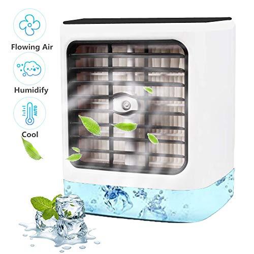 Nifogo Aire Acondicionado, Aire Refrigerador, Portatil Climatizador Evaporativo, 3-en-1 Mini Ventilador Humidificador Purificador de Aire, a Prueba de Fugas, Nuevo Papel de Filtro (Blanco)